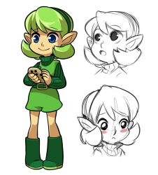 1girl belt blue_eyes blush_stickers boots green_boots green_hair hairband instrument mary_cagle ocarina saria sketch smile solo the_legend_of_zelda the_legend_of_zelda:_ocarina_of_time turtleneck