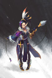 1girl black_gloves black_hair black_legwear blue_eyes boots breasts cleavage facial_mark feather_duster feathers forehead_mark full_body garter_straps gloves gold_trim grey_background hair_feathers hair_ornament hair_stick high_heel_boots high_heels li_chunfu multicolored_hair original pointy_ears solo standing streaked_hair thighhighs