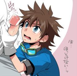 2boys blush erection gloves goggles handjob male_focus multiple_boys penis shima_kyousuke shota size_difference solo_focus sweat yaoi rating:Explicit score:7 user:harucho