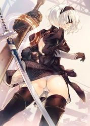 1girl amami_mikihiro ass black_dress black_gloves black_legwear blindfold boots cameltoe chains dress from_behind gloves hairband highres looking_back mole mole_under_mouth nier_(series) nier_automata panties short_hair solo sword thighhighs underwear weapon white_hair white_panties yorha_no._2_type_b