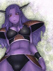 1girl armor breasts captain_ginyu cleavage dragon_ball dragonball_z fumio_(rsqkr) genderswap genderswap_(mtf) horns large_breasts navel purple_hair purple_skin red_eyes solo veins rating:Safe score:70 user:danbooru