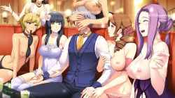 1boy 6+girls :d ^_^ akuma_musume_no_kanban_ryouri alcohol animal_ears arm_hug benimura_karu between_breasts black_hair blonde_hair blue_eyes blush bra bra_in_mouth bra_removed breast_rest breasts breasts_on_head brown_eyes brown_hair choker covering_face drill_hair eyes_closed game_cg gin_(akuma_musume) gin_(akuma_musume_no_kanban_ryouri) girl_sandwich green_eyes green_hair harem head_out_of_frame large_breasts lingerie long_hair mouth_hold multiple_girls nipples open_mouth panties pimp purple_hair sandwiched short_hair sitting smile thighhighs underwear vest rating:Questionable score:37 user:danbooru