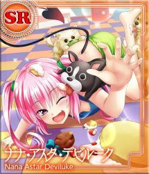 1girl ;d all_fours cake demon_tail dog downblouse fang flat_chest food food_on_head licking long_hair nana_asta_deviluke object_on_head official_art one_eye_closed open_mouth pink_eyes pink_hair pulled_by_another shorts shorts_pull smile solo tail to_love-ru to_love-ru_darkness:_idol_revolution twintails rating:Questionable score:6 user:danbooru