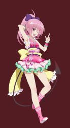 10s 1girl armpits demon_tail full_body happy index_finger_raised kimono_skirt looking_at_viewer nana_asta_deviluke obi pink_eyes pink_hair short_hair short_kimono simple_background sleeveless sleeveless_kimono solo standing tail to_love-ru to_love-ru_darkness to_love-ru_darkness:_idol_revolution transparent_background wink rating:Questionable score:6 user:deltaonix