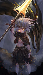 1girl absurdres bandage bandaged_hands bandages belt belt_buckle bow bracelet buckle cloak covered_mouth crown dark_souls dark_souls_iii dragon embers fog glowing glowing_eyes glowing_weapon grey_hair hair_bow highres holding holding_spear holding_weapon jewelry lightning medium_hair nameless_king necklace polearm rock scratches skirt snow7a souls_(from_software) spear standing torn_cloak torn_clothes weapon white_hair yellow_eyes