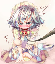1girl animal_ears blue_eyes blush braid collar dog_ears dog_tail female hairband inu_sakuya izayoi_sakuya kemonomimi_mode leash peeing pussy ribbon solo tail tears tora tora_(torayarou) touhou twin_braids uncensored rating:Explicit score:8 user:danbooru
