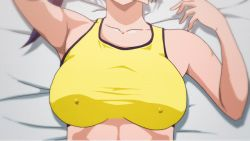 1girl animated animated_gif armpits arms_up bangs bare_shoulders bed bed_sheet blue_eyes blue_hair blush bounce bouncing_breasts breasts collarbone covering covering_mouth crop_top erect_nipples female hand_over_mouth implied_sex large_breasts looking_at_viewer loop lying matching_hair/eyes midriff nipples no_bra on_back on_bed original pixiv_id_24969974 ponytail pov short_hair solo upper_body yokkoisho_(nijie829001) rating:Questionable score:15 user:Aman2k16