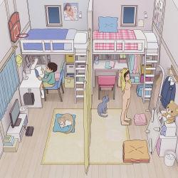 1boy 1girl bedroom black_hair brother_and_sister casual_nudity copyright_request kiyo_(kyokyo1220) loaded_interior loli nipples nude room siblings rating:Explicit score:58 user:Loli_wiggler