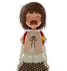 1girl backpack bangs bow brown_hair child crying eyes_closed female flat_chest kago_no_tori open_mouth original polka_dot polka_dot_bow polka_dot_skirt saliva simple_background solo standing tears white_background rating:Safe score:7 user:Domestic_Importer