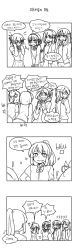 ! 4koma 5girls ? artist_request blush braid comic covering_face embarrassed french_braid greyscale hair_ribbon hands_up highres jewelry kimi_no_na_wa korean long_hair miyamizu_mitsuha monochrome multiple_girls multiple_persona open_mouth pendant ponytail ribbon school_uniform short_hair sparkle star_necklace sweatdrop translation_request wavy_mouth