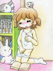 1girl asphyxiation bangs blush book bookshelf brown_hair camisole eyes_closed flat_chest indoors kneeling loli masturbation nikuhen no_shoes panties panty_pull pussy rope short_hair short_twintails socks solo stuffed_animal sweat tears twintails uncensored underwear white_panties white_socks