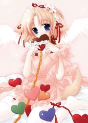 1girl animal_ears blue_eyes chains chocolate chocolate_heart collar dog_ears dog_tail eating garter_belt hairband heart leash lolita_hairband pure_pure sachi sakurazawa_izumi solo tail thighhighs white_legwear wings rating:Questionable score:4 user:danbooru