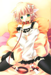 1girl absurdres animal_ears bed black_legwear blush bone bow collar dog_ears fang green_eyes hair_ornament hairclip highres japanese_clothes leash miko pillow pink_hair ribbon sakurazawa_izumi slave solo strap_slip sweater thighhighs zettai_ryouiki rating:Questionable score:9 user:danbooru