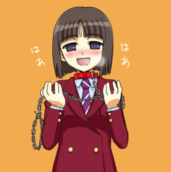 1girl bad_id bishoujo_inpora! blush breath brown_hair collar female_pervert iseya_hibana jacket leash necktie pervert purple_eyes school_uniform serafuku short_hair slave smile solo yanagi_kawa rating:Safe score:1 user:danbooru