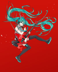 1girl ;) alternate_color alternate_nail_color bare_arms black_nails black_skirt blue_eyes blue_hair commentary_request electric_guitar eyebrows_visible_through_hair fingernails floating_hair full_body grey_shirt guitar happy hatsune_miku highres holding holding_instrument instrument ixima jumping long_hair music nail_polish one_eye_closed pin playing_instrument plectrum red_background shirt shoulder_tattoo simple_background skirt sleeveless sleeveless_shirt smile solo spread_legs tattoo thighhighs thighs twintails very_long_hair vocaloid