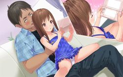 1boy 1girl age_difference akogare_no_ano_ko_no_musume_wa_boku_no_yome animated animated_gif areolae blush brown_eyes brown_hair dorill downblouse dress flat_chest girl_on_top hetero loli long_hair lowres nipples no_bra panties sitting sitting_on_lap sitting_on_person spread_legs tachibana_yui_(akogare) tagme underwear upskirt rating:Questionable score:15 user:pussy_fiend