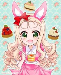 1girl animal_ears artist_name blonde_hair blueberry blush bunny_ears burafu cake carrot cherry crumbs dress drill_hair floral_background food fork frills fruit girls_und_panzer green_eyes hair_ornament headband holding holding_plate long_hair looking_at_viewer marie_(girls_und_panzer) open_mouth pastry pink_dress plate ribbon short_sleeves smile solo strawberry