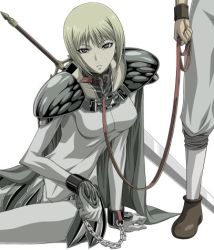 00s armor bdsm blade blonde_hair bondage bound chains clare_(claymore) claymore claymore_(sword) collar cuffs leash lowres pauldrons shackles short_hair shoulder_pads silver_eyes sitting sword takapico takapiko weapon rating:Safe score:16 user:danbooru