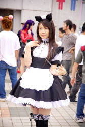animal_ears apron cat_ears collar cosplay highres leash maid maid_apron photo pochi_(model) thighhighs rating:Safe score:0 user:Anonymous