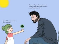 1boy 1girl 4chan :d beard child clover crossover drawfag facial_hair four-leaf_clover green_eyes green_hair keanu_reeves koiwai_yotsuba meme object_namesake open_mouth quad_tails real_life simple_background sitting smile white_background yotsubato!