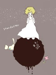 alternate_costume alternate_hairstyle bare_shoulders bell blonde_hair cat collar copyright_name dress eyes_closed flower hands_on_own_face jingle_bell kagamine_rin kneeling le_petit_prince mam233 open_mouth planet short_hair star starduster_(vocaloid) sundress vocaloid white_dress