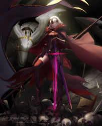 1girl absurdres ankle_boots armor armored_dress black_legwear boots cape dark_excalibur dragon fate/grand_order fate_(series) headdress highres jeanne_alter panties planted_sword planted_weapon q9q ruler_(fate/apocrypha) showgirl_skirt skull solo sword thighhighs underwear weapon white_hair yellow_eyes rating:Safe score:15 user:danbooru
