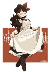 1girl apron artist_name black_dress black_eyes black_legwear blue_hair blush closed_mouth commentary_request cropped_legs dragon_ball dragon_ball_(classic) dress frilled_apron frills hair_ornament hairband highres long_hair long_sleeves looking_at_viewer lunch_(dragon_ball) maid maid_apron maid_dress maid_headdress red_hairband simple_background skirt_hold smile solo standing tama_azusa_hatsu white_apron
