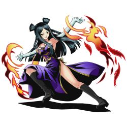 1girl armpits black_boots black_hair boots breasts brown_eyes divine_gate dress elbow_gloves fairy_tail full_body gloves knee_boots lipstick long_hair makeup medium_breasts minerva_orlando official_art purple_dress red_lipstick shadow sleeveless sleeveless_dress solo strapless strapless_dress transparent_background ucmm white_gloves