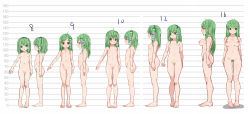 1girl age_progression arm_at_side bangs bare_legs barefoot blush breasts closed_mouth collarbone colored_eyelashes colored_pubic_hair eyebrows_visible_through_hair flat_chest frog_hair_ornament frown green_eyes green_hair groin hair_ornament hair_tubes head_tilt height_chart height_difference highres karasawa-40 kochiya_sanae lineup loli long_hair looking_at_viewer looking_to_the_side medium_breasts navel nipples parted_lips profile pubic_hair pussy shiny shiny_hair small_breasts smile snake_hair_ornament stomach tareme thigh_gap touhou type-moon rating:Explicit score:71 user:danbooru