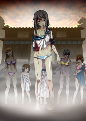 6+girls blood breasts cleavage empty_eyes flat_chest lingerie loli monster monster_girl multiple_girls open_mouth osanagokoro_no_kimi_ni panties panty_pull red_eyes rolling_eyes saliva school_uniform serafuku striped striped_panties the_zombie_hazard torn_clothes underwear zombie rating:Questionable score:50 user:zanzibar