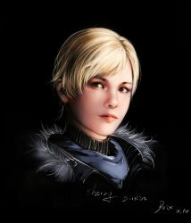 1girl absurdres black_background blonde_hair dated highres kaneko_xz looking_at_viewer parted_lips portrait realistic resident_evil resident_evil_6 sherry_birkin short_hair signature simple_background solo