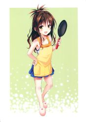 10s 1girl :d absurdres apron bare_shoulders blush brown_hair frying_pan hand_on_hip heart highres holding long_hair looking_at_viewer open_mouth scan sleeveless slippers smile solo to_love-ru to_love-ru_darkness to_love_ru_darkness yabuki_kentarou yellow_eyes yuuki_mikan rating:Safe score:7 user:danbooru