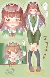 2girls artist_name between_legs black_legwear blush breasts breath brown_eyes brown_footwear brown_hair crying embarrassed eyebrows_visible_through_hair eyes_closed female full_body green_background green_skirt green_vest half-closed_eyes hand_between_legs hands_together have_to_pee highres japanese_text kneehighs knees_together_feet_apart kobayasi_okasi long_hair long_sleeves looking_at_viewer matching_hair/eyes medium_breasts multiple_girls multiple_views neck_ribbon nose_blush open_mouth original peeing peeing_self pigeon-toed puddle red_neckwear red_ribbon ribbon school_uniform shiny shiny_hair shirt shoes short_hair signature simple_background skirt speech_bubble standing sweat talking tears teeth text_focus tongue translation_request trembling twitter_username uniform v_arms vest wet wet_clothes white_shirt rating:Questionable score:3 user:AngryZapdos