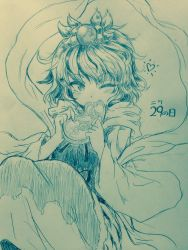 1girl ;) bangs blush commentary_request eating efukei eyebrows_visible_through_hair fang food good_meat_day heart highres holding holding_food long_sleeves looking_at_viewer meat monochrome one_eye_closed shawl short_hair sitting smile solo toramaru_shou touhou traditional_media