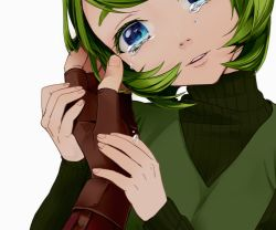 1girl blue_eyes colored_eyelashes face gloves green_hair hair_intakes hand_holding head_tilt looking_at_viewer otton parted_lips pointy_ears pov ribbed_sweater saria short_hair simple_background solo_focus sweater tears the_legend_of_zelda the_legend_of_zelda:_ocarina_of_time turtleneck turtleneck_sweater white_background