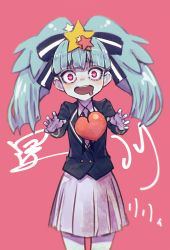 1girl blue_hair blue_skin character_name commentary_request drooling eyebrows_visible_through_hair hair_ornament hair_ribbon heart heart-shaped_pupils heart_in_eye hoshikawa_lily kakura_mina long_hair open_mouth pink_background reaching_out red_eyes ribbon skirt solo star star_hair_ornament symbol-shaped_pupils symbol_in_eye zombie zombie_land_saga rating:Safe score:6 user:danbooru