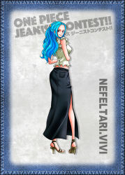 1girl blue_hair denim denim_skirt feet nefertari_vivi official_art one_piece sandals solo rating:Safe score:22 user:catonfire26