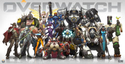 10boys 5girls absurdres adjusting_glasses arnold_tsang bastion_(overwatch) bird bird_on_hand black_hair black_legwear blonde_hair boots bow_(weapon) cape center_opening cigar copyright_name cowboy_hat dark_skin everyone eyepatch gas_mask genji_(overwatch) glasses gorilla gun hammer hanzo_(overwatch) hat highres holster hood huge_filesize incredibly_absurdres long_hair mask mccree_(overwatch) mercy_(overwatch) multiple_boys multiple_girls nail_polish official_art overwatch pharah_(overwatch) power_armor purple_hair purple_skin quiver reaper_(overwatch) reinhardt_(overwatch) roadhog_(overwatch) robot standing sword symmetra_(overwatch) tattoo thigh_boots thighhighs torbjorn_(overwatch) tracer_(overwatch) very_long_hair watermark weapon widowmaker_(overwatch) wings winston_(overwatch) zenyatta_(overwatch)