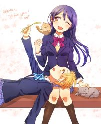 2girls animal bangs blazer blue_hair blue_neckwear bow bowtie cat commentary_request hair_between_eyes heru_(totoben) holding hoshizora_rin jacket lap_pillow long_hair long_sleeves looking_at_viewer love_live! love_live!_school_idol_festival love_live!_school_idol_project multiple_girls one_eye_closed open_mouth otonokizaka_school_uniform petting pleated_skirt red_neckwear school_uniform short_hair sitting skirt smile sonoda_umi striped striped_neckwear yellow_eyes rating:Safe score:1 user:danbooru