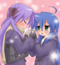 00s 2girls breath gloves hair_ribbon hiiragi_kagami izumi_konata kiji_(manekinuko-tei) lucky_star mole mole_under_eye multiple_girls ribbon rating:Safe score:4 user:danbooru