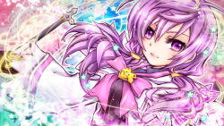 1girl aisha_(elsword) bow colorful elsword gloves long_hair magic_circle orto purple_eyes purple_hair ribbon smile solo twintails