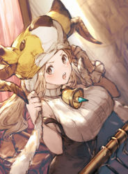 >:o 1girl :o animal_hat bare_shoulders bell blush breasts brown_eyes daetta_(granblue_fantasy) deer doraf granblue_fantasy hat hat_tug horns large_breasts light_brown_hair long_hair open_mouth ribbed_sweater sleeveless solo sweater taroji underbust
