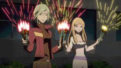 animated animated_gif blonde_hair brown_hair fireworks green_hair multiple_girls pink_hair star_driver yukata