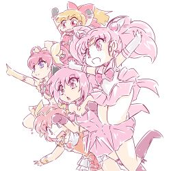 00s 5girls 90s :d :o angel_peach animal_ears arms_up bishoujo_senshi_sailor_moon black_gloves blonde_hair blossom_(ppg) blue_eyes boots bow brooch cat_ears chestnut_mouth chibi_usa choker color_connection crossover cure_dream double_bun elbow_gloves gloves hair_color_connection hair_ornament hair_rings hairpin hanasaki_momoko highres jewelry knee_boots long_hair magical_girl mew_ichigo momomiya_ichigo multiple_girls okuri_ookami open_mouth outstretched_arms paw_pose pink_boots pink_eyes pink_gloves pink_hair pink_skirt pleated_skirt pointing ponytail powerpuff_girls precure red_bow red_eyes sailor_chibi_moon sailor_collar short_hair sketch skirt smile spread_arms tiara tokyo_mew_mew twintails wedding_peach white_background white_gloves yellow_gloves yes!_precure_5 yumehara_nozomi