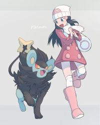 1girl :d bag beanie black_hair blue_eyes blue_hair blush boots buttons character_name dress full_body grey_background hair_ornament hat highres hikari_(pokemon) long_hair long_sleeves luxray open_mouth pink_boots pokemon pokemon_(creature) pokemon_(game) pokemon_dppt red_dress scarf simple_background smile solo thighhighs white_legwear winter_clothes