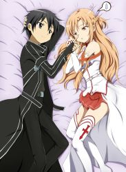 1boy 1girl asuna_(sao) black_eyes black_hair breastplate brown_eyes brown_hair coat couple fingerless_gloves gloves highres kinfuji kirito long_hair lying nose_poke on_side poking short_hair spoken_sweatdrop sweatdrop sword_art_online thighhighs
