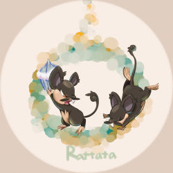 absurdres alolan_rattata animal_ears character_name cupcake eyes_closed highres kenshih mouse_ears mouse_tail no_humans open_mouth orange_eyes pokemon pokemon_(creature) pokemon_(game) pokemon_sm rattata tail teeth