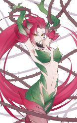 1girl arms_up bare_shoulders breasts cleavage es_(esscarlet) leaf league_of_legends long_hair looking_at_viewer monster_girl navel orange_eyes pink_hair red_hair smile solo tagme thorns very_long_hair vines yellow_eyes zyra
