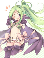 1girl cape double_v ebi_shamo fire_emblem fire_emblem:_kakusei flat_chest gloves green_hair navel nintendo nono_(fire_emblem) pointy_ears stomach v