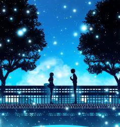 1boy 1girl animated animated_gif bridge copyright_request from_side harada_miyuki koe_no_katachi looking_at_another outdoors